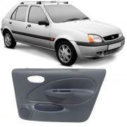 Par de Revestimento Forro de Porta - Dianteiro - Fiesta 1996 1997  1998 1999 2000 2001 2002 - 4 Portas - com tela - Cinza - Manual/Elétrico