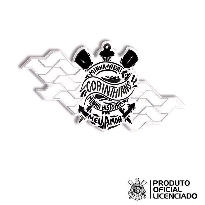 Adesivo Licenciado Corinthians Oficial - Corinthians Minha Vida - 5,5x10,2 cm