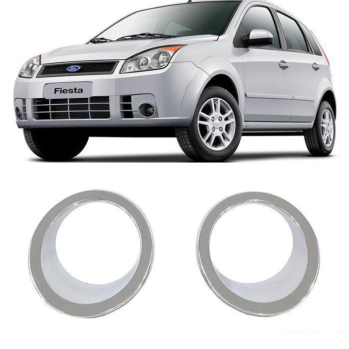 Aplique Cromado Moldura Farol Milha Fiesta Hatch e Sedan - 2008 2009 2010 - Par
