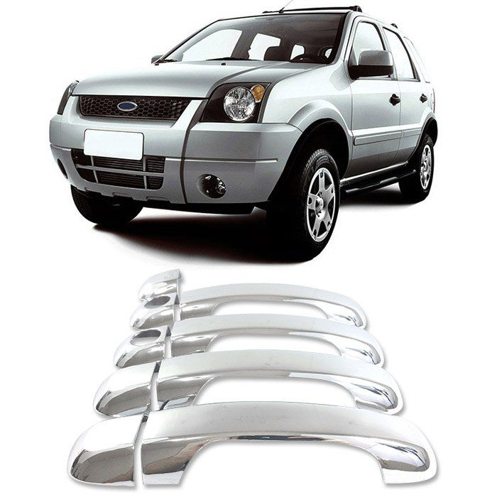 Aplique Maçaneta Cromado Ecosport 2003 a 2012  e Fiesta 2002 a 2010
