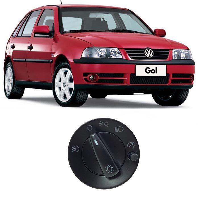 Botão de Farol - Gol, Parati, Saveiro - 2000 2001 2002 2003 2004 2005 2006 - Com Reostato - Farol Auxiliar