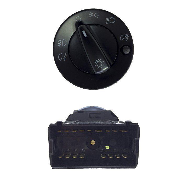 Botão de Farol - Gol, Parati, Saveiro - 2000 2001 2002 2003 2004 2005 2006 - Com Reostato - Farol Auxiliar - Lanterna Traseira
