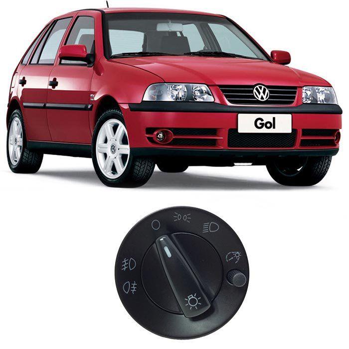 Botão de Farol - Gol, Parati, Saveiro - 2000 2001 2002 2003 2004 2005 2006 - Farol Duplo - Com Reostato - Com Auxiliar