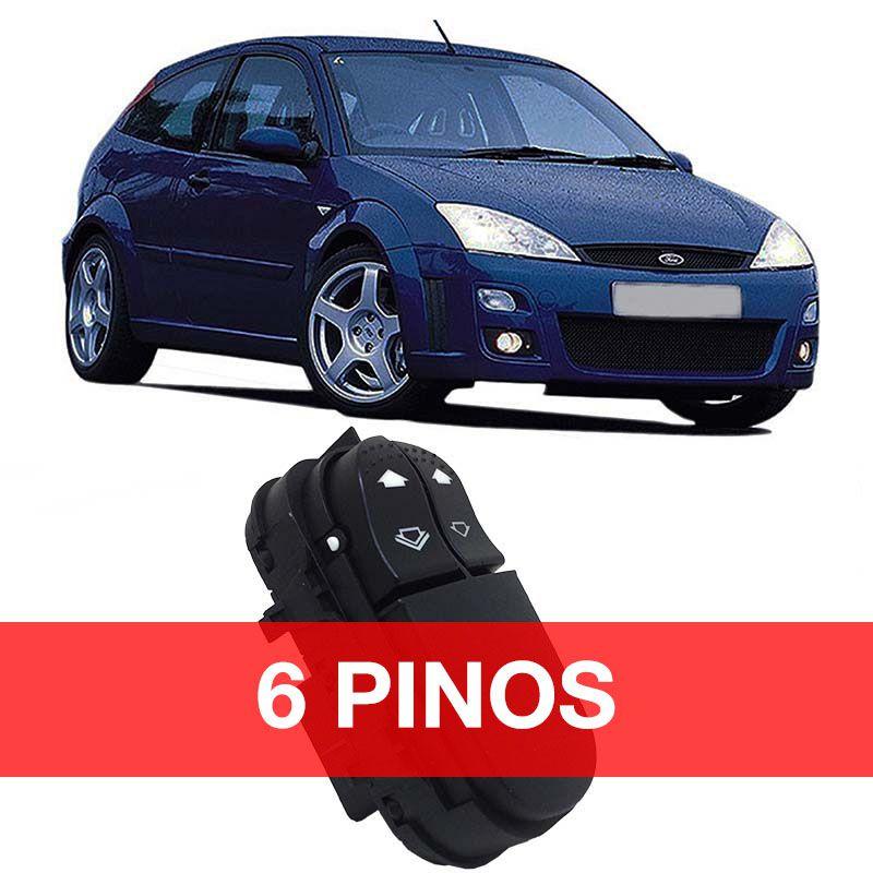 Botão Vidro Elétrico - Focus - 2000 2001 2002 2003 2004 2005 2006 2007 2008 - 6 Pinos