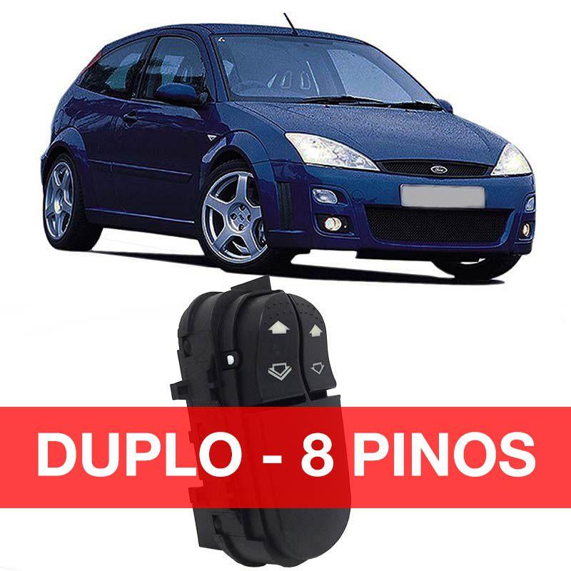 Botão Vidro Elétrico - Focus - 2000 2001 2002 2003 2004 2005 2006 2007 2008 - Duplo 8 pinos