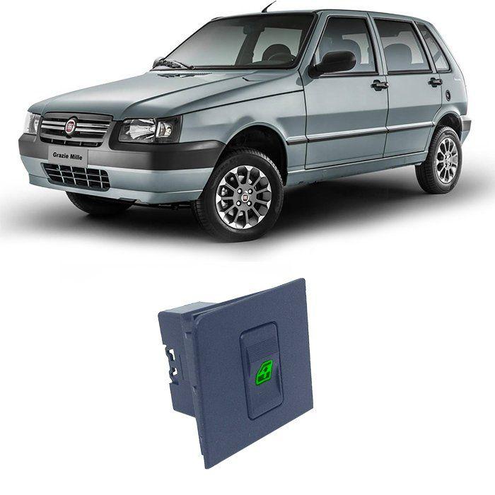 Botão Vidro Elétrico - Uno 2004 Até 2014 - Simples - Led Verde