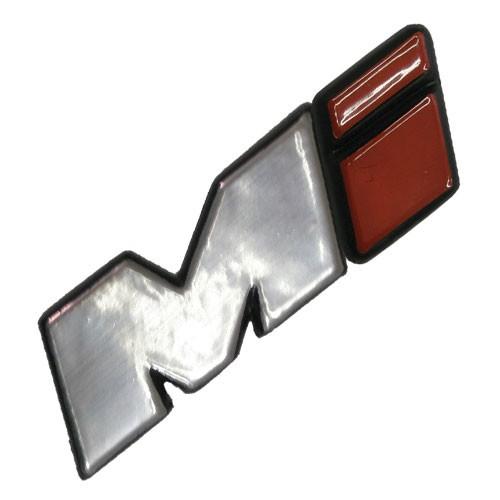 Emblema Adesivo - Mi - i Vermelho - VW - Cinza Aço Escovado
