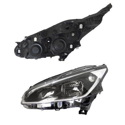 Farol Original Peugeot 208 - 2012 2013 2014 2015 - Máscara Negra - Sem LED