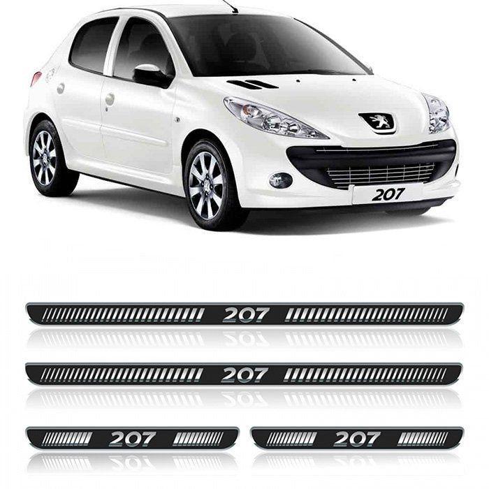 Jogo de Soleira Resinada Peugeot 207 - 2006 a 2014 - Preto Protetora Adesiva 4 Peças com Grafia Personalizada