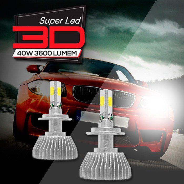 Kit Xenon De Led 3D 7200 Lumens H4