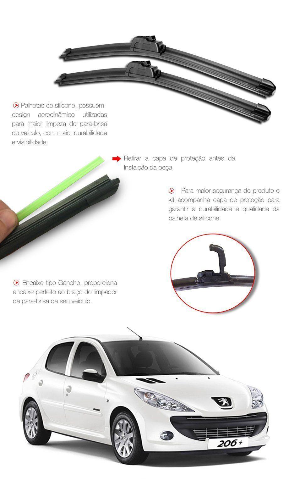 Palheta Limpador Parabrisa Peugeot 206 - 1998 1999 2000 2001 2002 2003 2004 2005 2006 2007 2008