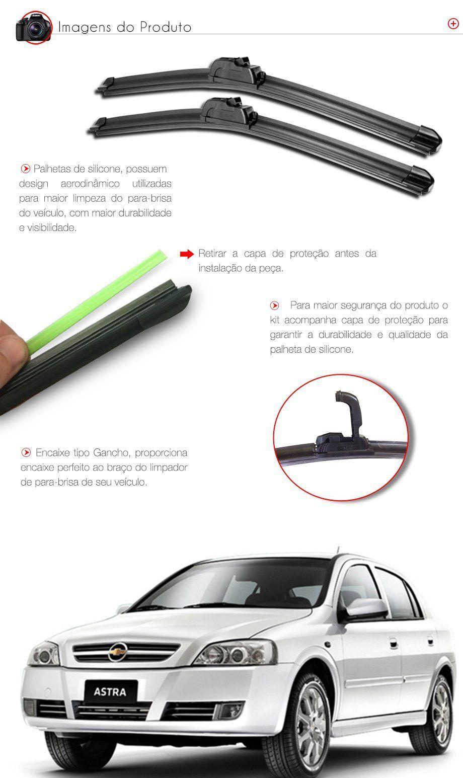 Palheta Slim Limpador Parabrisa  Astra 1998 1999 2000 2001 a 2009 2010 2011