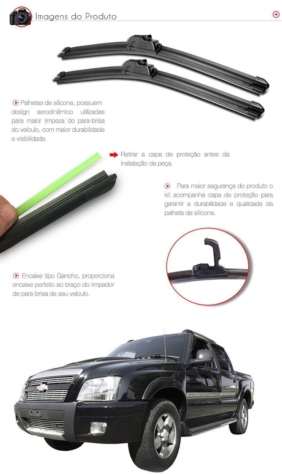 Palheta Slim Limpador Parabrisa S10 - 1995 1996 1997 1998 a 2009 2010 2011