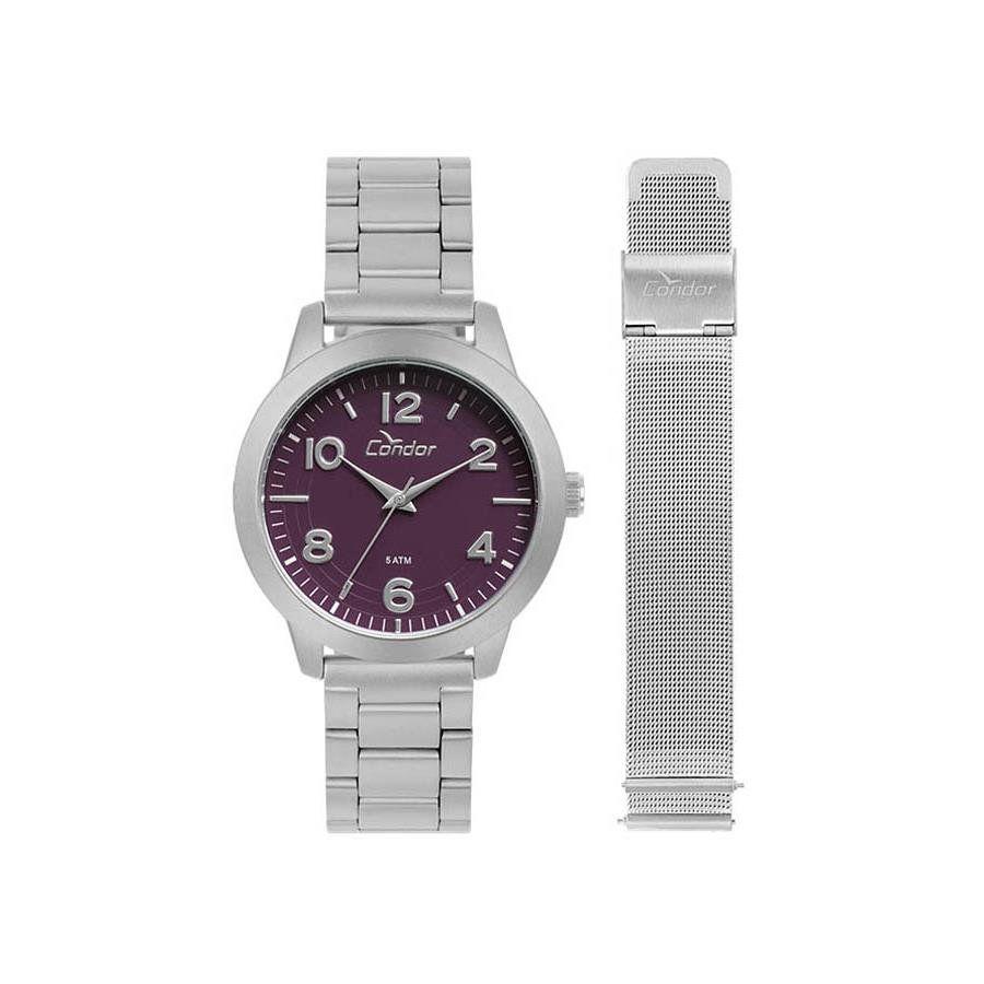 38f259fbd4a Relógios Web Shop Relógio Condor Feminino Ref  Co2036kup t3g Kit Prata Fosco