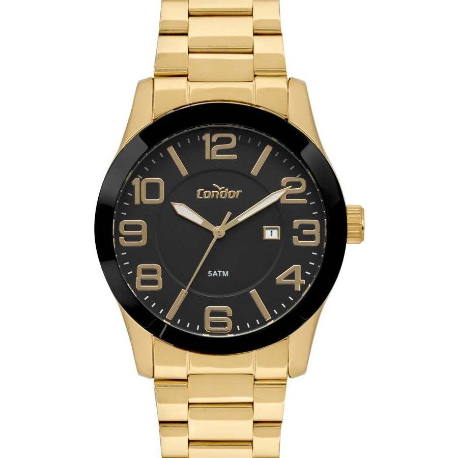 f47f865e7fc Relógio Condor Masculino Ref  Co2115kts 4p Casual Dourado com Preto -  Relógios Web Shop