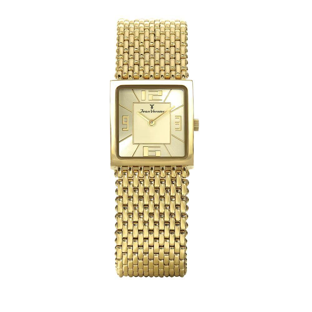 99f300a38fb Relógios Web Shop Relógio Jean Vernier Feminino Ref  Jv114 Social  Retangular Dourado