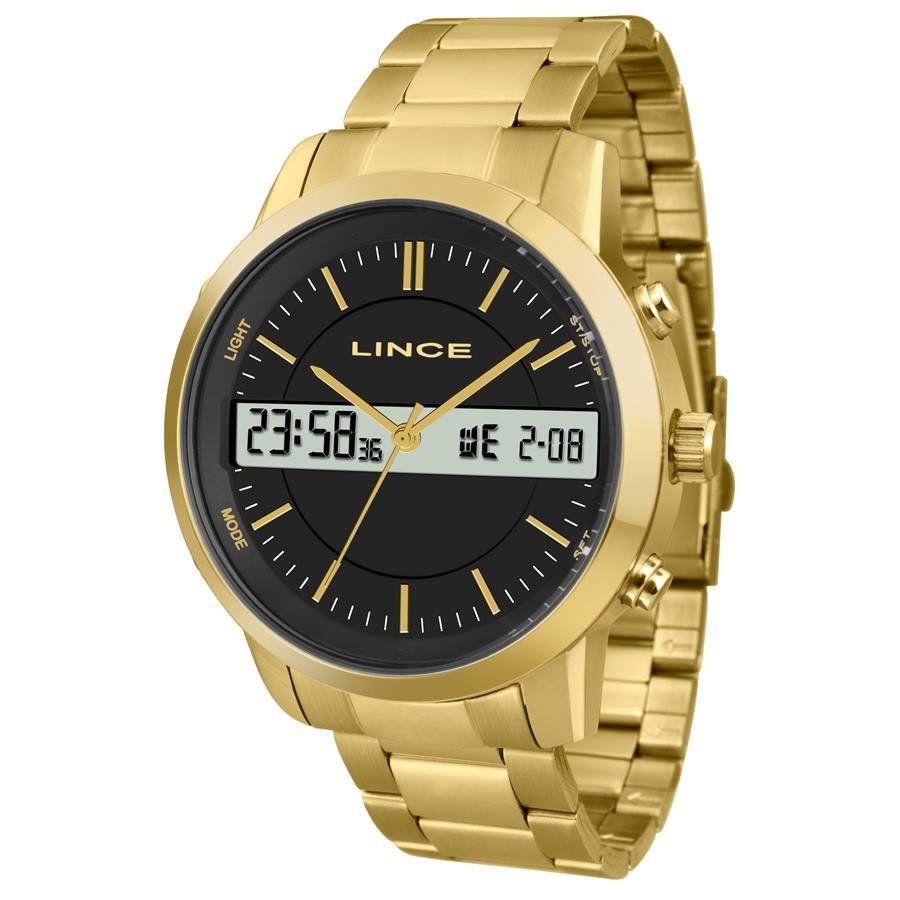 f43532c0f09 Relógio Lince Masculino Ref  Mag4489s P1kx Anadigi Dourado - Relógios Web  Shop