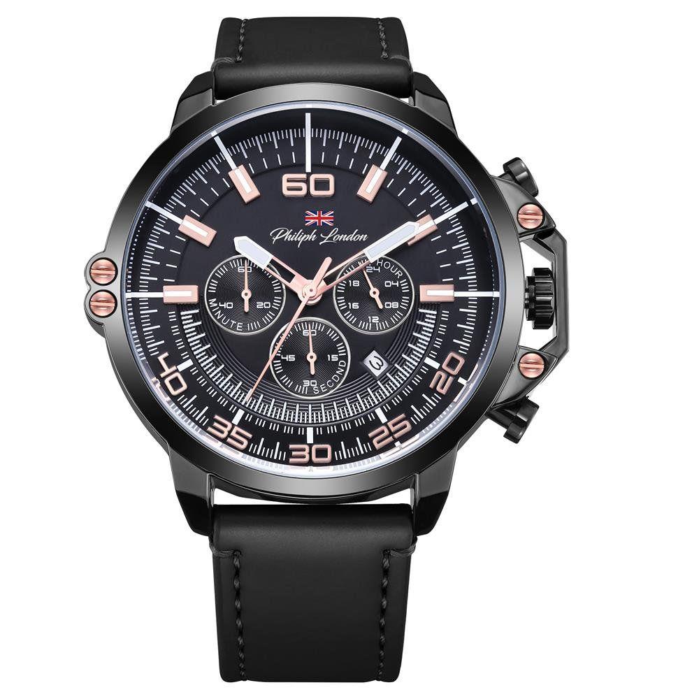 958adf44bfb Relógio Philiph London Masculino Ref  Pl80034612m Cronógrafo Black -  Relógios Web Shop ...