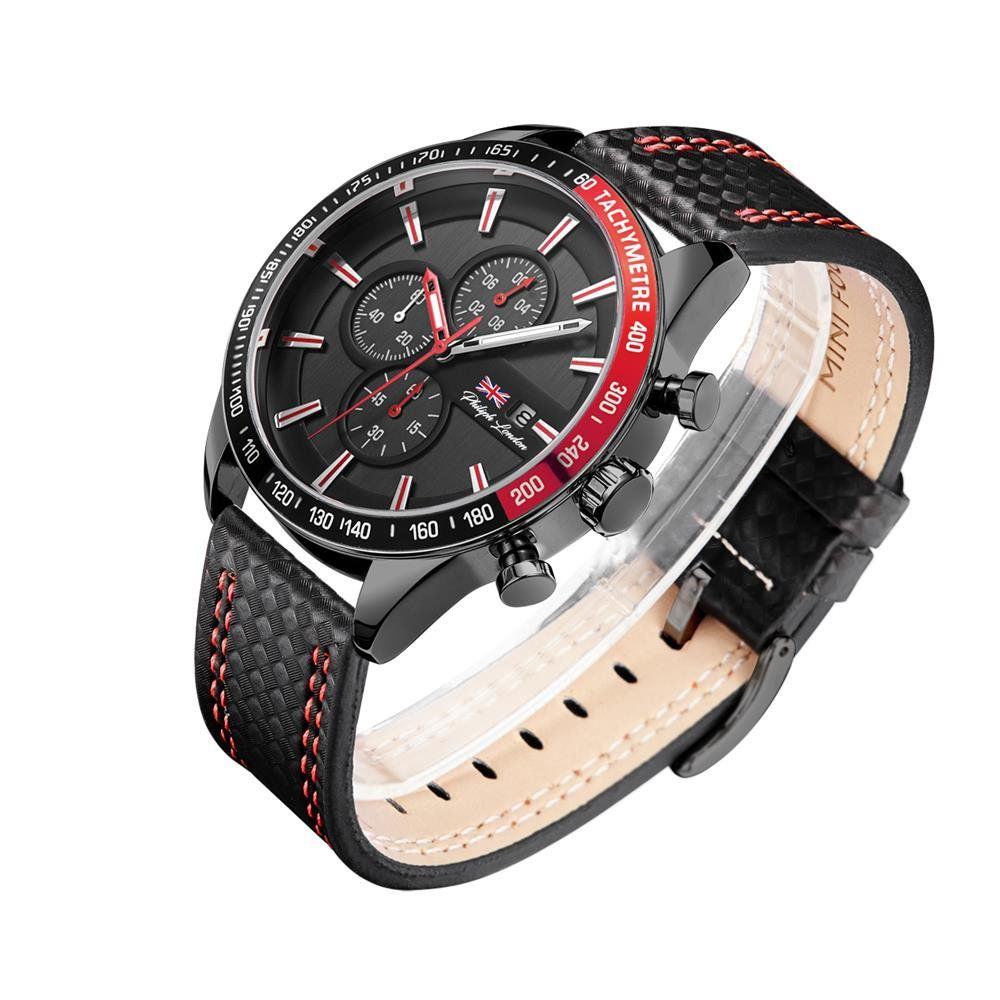 7163b74ab2c ... Relógio Philiph London Masculino Ref  Pl80039612m Cronógrafo Black -  Relógios Web Shop