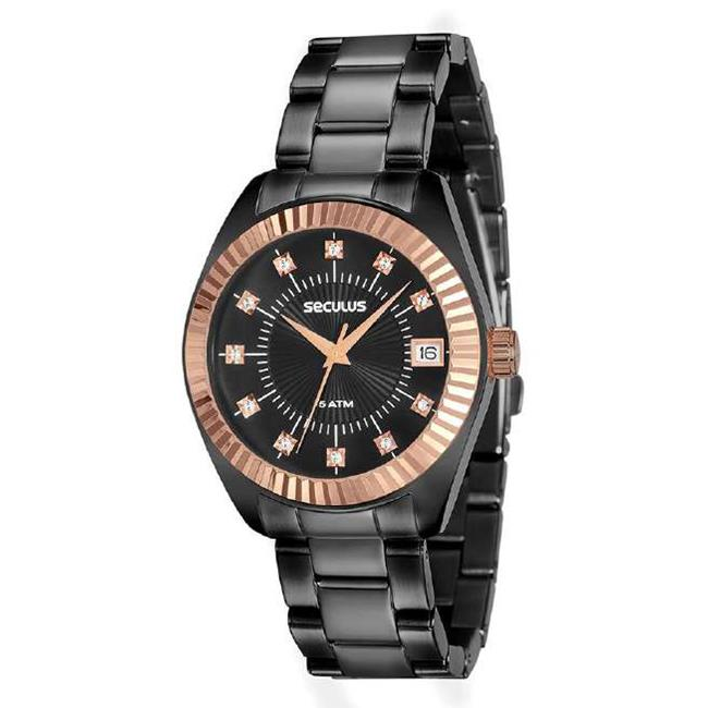 Relógio Seculus Feminino Ref  13019lpsvis4 Fashion Black - Relógios Web Shop 3c20f127d8