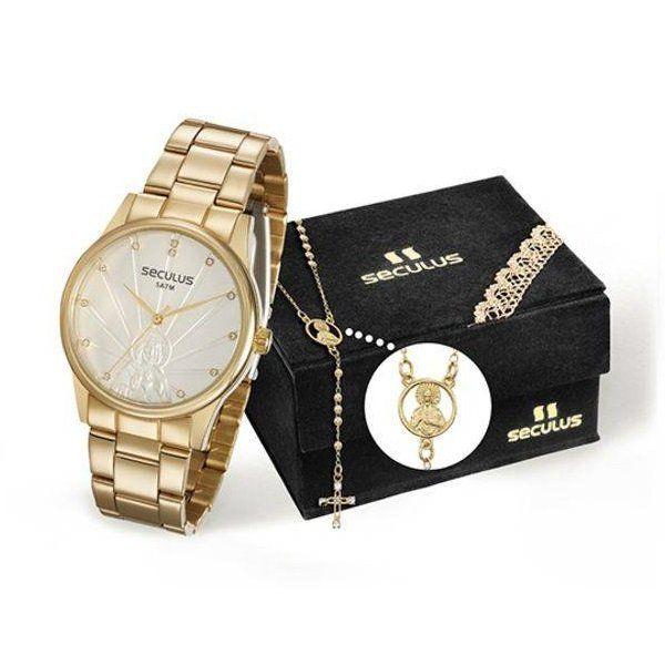 Relógio Seculus Feminino Ref  28918lpskds1 Jesus Cristo + Semijóia -  Relógios Web Shop ... 2e910b95eb