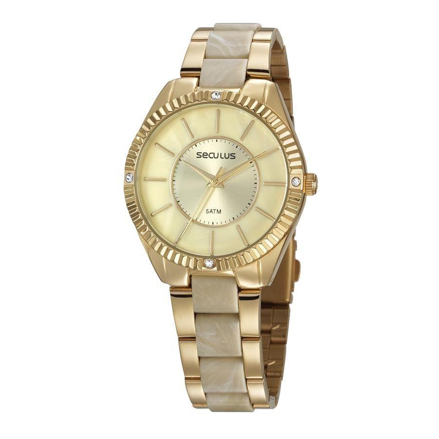Relógio Seculus Feminino Ref  77028lpsvdf1 Fashion Dourado - Relógios Web  Shop ... 6fc23185d8