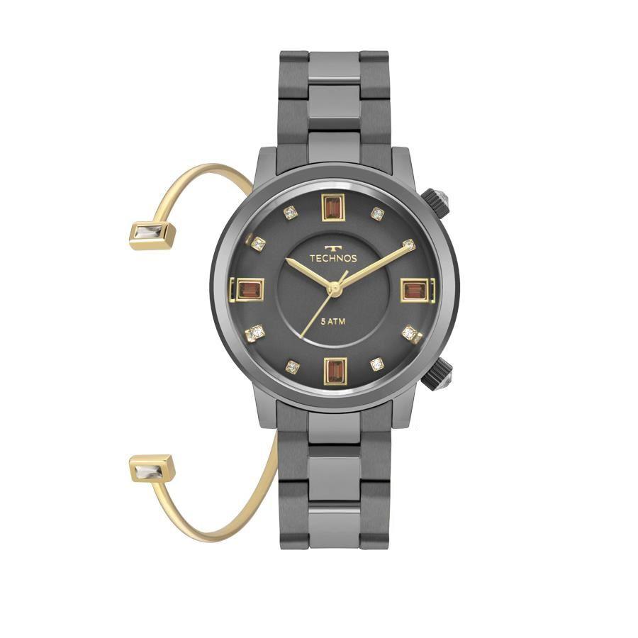 5b9f5b5fdd4fa Relógio Technos Feminino Ref  2039bw k4c Crystal Grafite - Relógios Web  Shop ...