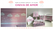 COMBO - Kit Painel de Parede Completo Nuvens Chuva de Amor MDF BRANCO + Kit Higiene 8 Peças Rosa