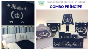 COMBO - Kit Completo MDF Branco Príncipe + Kit Higiene Príncipe Azul Marinho Quarto do Bebê