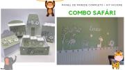 COMBO Kit Painel de Parede Completo Safári 3 Bichos MDF Branco + KIT Higiene Completo Verde