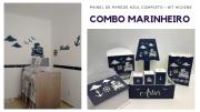 COMBO Kit Painel de Parede Marinheiro Azul Marinho Completo + Kit Higiene 8 peças Azul Marinho