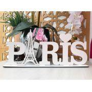 Enfeite decorativo de mesa Letreiro Paris 40cm MDF Cru ou Branco