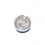 Etiqueta Tag Personalizada em acrílico cristal 2x2 diâmetro