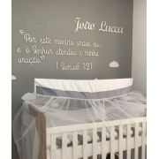 """Frase em MDF  2m - """"Por este filho orava eu, e o Senhor atendeu a minha oração 1 Samuel"""