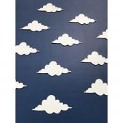 kit 20 peças Apliques MDF Nuvens 15cm