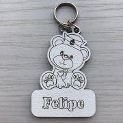 REF. 008 - CHAVEIRO BABY URSINHO MARINHEIRO PERSONALIZADO MDF BRANCO