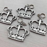 KIT 50 PEÇAS - Chaveiro Coroa Príncipe ou Princesa Personalizado MDF BRANCO