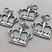 REF. 004 - Chaveiro Coroa Príncipe ou Princesa Personalizado MDF BRANCO
