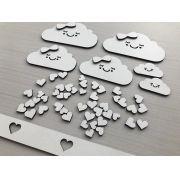 Kit Apliques em MDF Chuva de Amor para Decoração de Kit Higiene DIY Faça você Mesmo