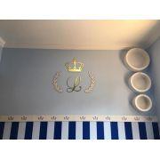 Kit Completo MDF Coroa 30cm c/ Inicial + Nome - Branco com Dourado - Decoração Quarto do Bebê