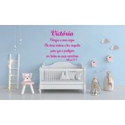 Kit Frase Salmos 91:11 Personalizada + Nome do Bebê Decoração