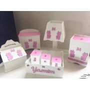 Kit Higiene 8 Peças Minnie Rosa Personalizado Rosa Claro