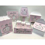 Kit Higiene 8 Peças Ursa Princesa Lacinho + Quadro Porta Maternidade Personalizado
