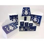 Kit Higiene 8 Peças Urso Príncipe Coração Personalizado