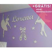Kit Painel de Parede Completo Bailarinas Estrelas Personalizado Decoração Quarto do Bebê