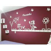 Kit Painel de Parede Completo 18 Peças Bonecas 2 com Flor Alta Personalizado MDF Decoração Quarto do Bebê
