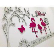 Kit Painel de Parede Completo 16 peças Flamingos Personalizado Decoração Quarto do Bebê
