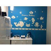 Kit Painel de Parede Completo Fundo do Mar Personalizado Decoração