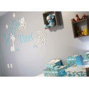 Kit Painel de Parede Completo 13 peças Safári 3 Bichos Personalizado - Branco com Azul