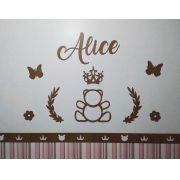 Kit Painel de Parede Completo 13 peças Ursa Princesa Personalizado 2 MDF CRU
